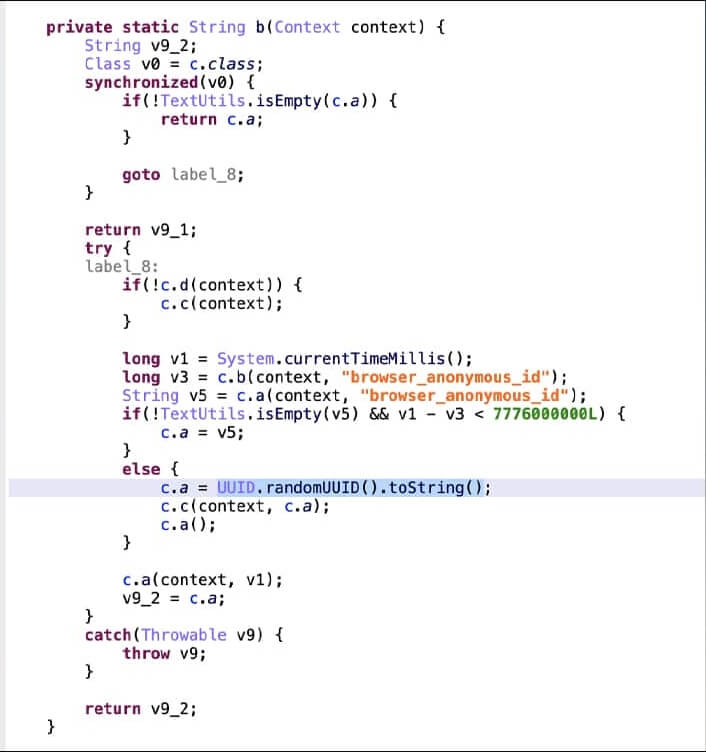 Code proving how unique identifiers are randomly generated